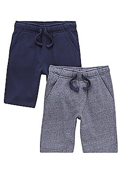F&F 2 Pack of Drawstring Sweat Shorts with As New Technology - Blue & Navy