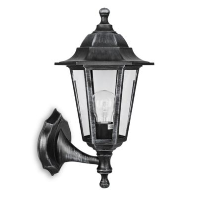 IP44 Outdoor Up & Down Wall Light in Brushed Silver and Black
