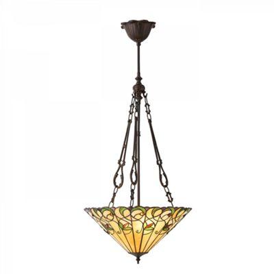 Pendant Light - Tiffany style glass & dark bronze paint with highlights