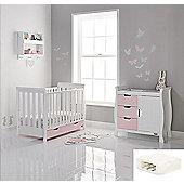Obaby Stamford Mini Cot Bed 2 Piece + Sprung Mattress Nursery Room Set - White with Eton Mess (Pink)