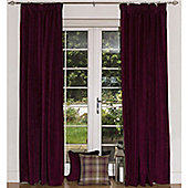 McAlister Wine Red Plain Matt Velvet Twill Pencil Pleat Curtains - Red