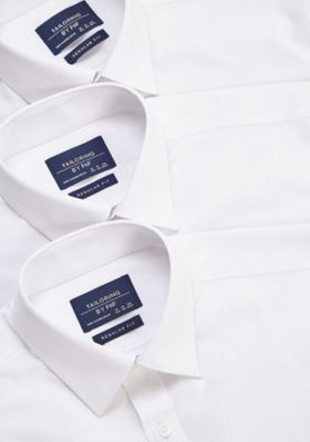 F&F 3 Pack of Regular Fit Long Sleeve Shirts White 16.5