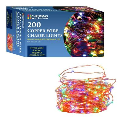 Christmas Workshop 200 LED Copper Wire Chaser Lights - Multi-Coloured