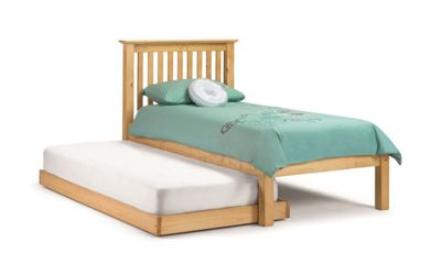 Happy Beds Barcelona Wood Guest Bed and Underbed Trundle with 2 Memory Foam Mattresses - Antique Pine - 3ft Single