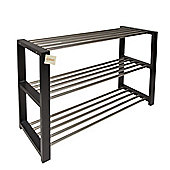Woodluv 3 Tier Shoe Rack Metal And White Wooden Frame