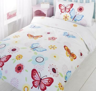Butterflies and Flowers Double Duvet and Canvas Art Set