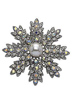 Rhodium Plated, Crystal and Single Glass Pearl, open Flower Brooch