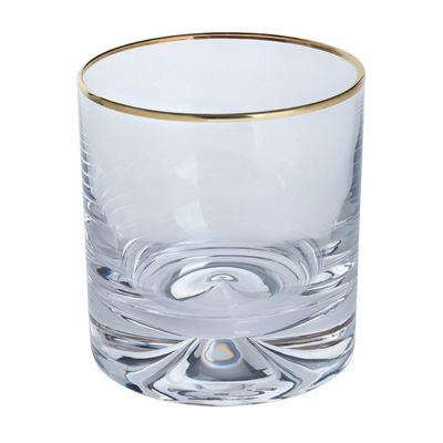 Dartington Crystal Dimple Gold Double Old Fashioned Tumblers Set of 2 285ml