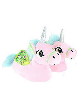 Children's Kids Girls Pastel Pink Unicorn Slippers With Wings - Pink