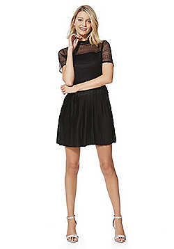 JDY Mesh Lace Bodice Pleated Dress - Black