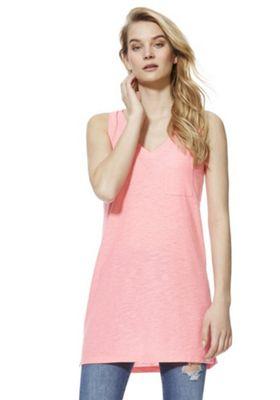 F&F Slub Long Line V-Neck Vest Top Pink 16