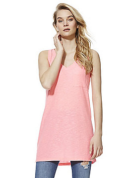 F&F Slub Long Line V-Neck Vest Top - Pink