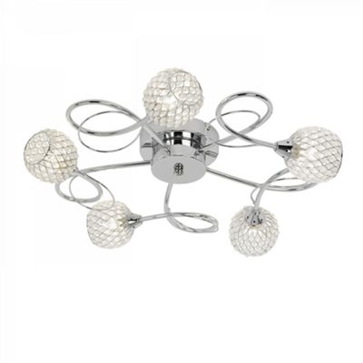 Chrome Effect Plate With Chrome Wire & Clear Bead Shade 5lt Semi Flush 33W