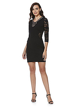 Mela London Embellished Neck Bodycon Dress - Black
