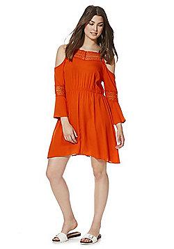 F&F Crochet Trim Cold Shoulder Dress - Orange