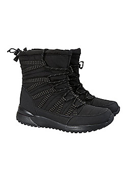 Zakti Womens Fe Fi Fo Fleece Lined Warm Snow Trainers with Adjustable Collar - Black