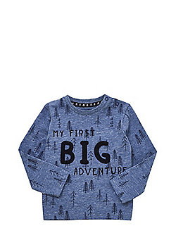 F&F Tree Print Slogan Long Sleeve T-Shirt - Blue