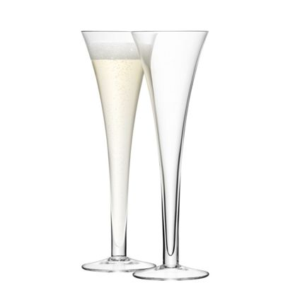 lsa bar set of 2 hollow stem glass champagne flutes