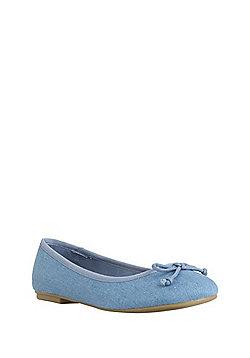 F&F Wide Fit Ballerina Pumps - Blue