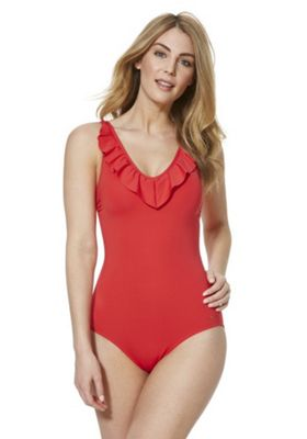 F&F Petite Shaping Swimwear Ruffle Swimsuit Red 18