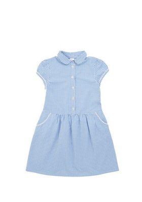 F&F School Gingham Dress Blue/White 5-6 years