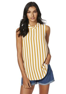 F&F Striped Sleeveless Roll Neck Top Mustard Yellow 10
