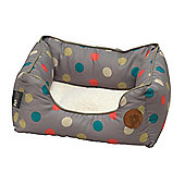 Petface Multi Dot Fleece Lined Dog Bed - Medium
