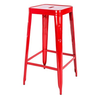 Homescapes Steel Bar Stool Stackable Industrial Style with Foot Rest, Red, 77cm Tall