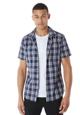 F&F Grandad T-Shirt and Checked Short Sleeve Shirt Set Navy XL