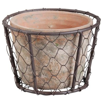 Fallen Fruits Aged Terracotta Pot In Wire Basket