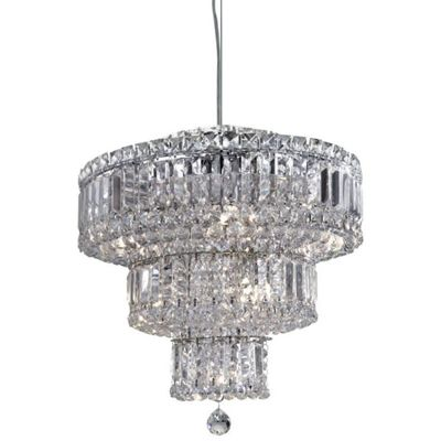 VESUVIUS - 9 LIGHT 3 TIER CEILING, CHROME WITH CLEAR CRYSTAL COFFINS TRIM & BALL DROPS