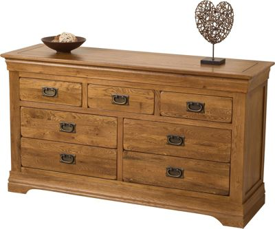 French Chateau Rustic Solid Oak 3 + 4 Chest Of Drawers