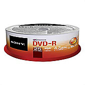 Sony 25DMR47SP DVD-R: write once disc. 25-pack spindle.