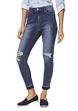 F&F Ripped Let-Down Hem Skinny Jeans - Blue