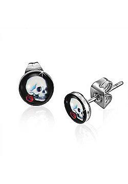Urban Male Single Rose Skull Design Men's Stud Earrings Stainless Steel 7mm