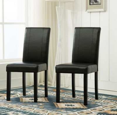 2 Faux Leather Dining Chairs With Solid Wooden (Black)