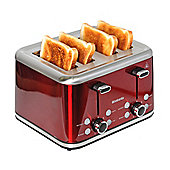 Brabantia 4-Slice Brushed Stainless Steel Toaster - Red
