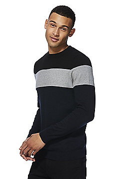 F&F Monochrome Colour Block Jumper - Black