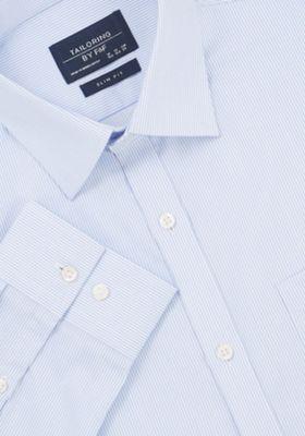 F&F Fine Stripe Slim Fit Long Sleeve Shirt Blue 18