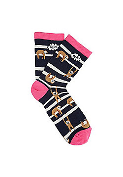 F&F Sloth Striped Ankle Socks - Multi