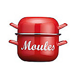 KitchenCraft World of Flavours Enamel Mussel Pot 2.5 Litre Red