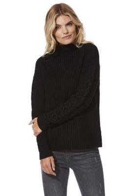 Vero Moda Lace-Up Sleeve Funnel Neck Jumper S Black