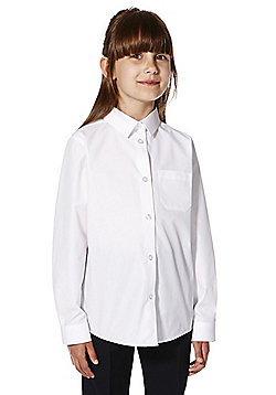 F&F School 2 Pack of Girls Easy Care Long Sleeve Shirts - White