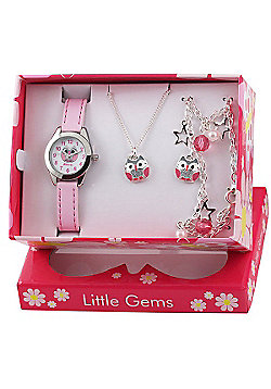 Girls Pink Owl Watch and Jewellery Gift Set