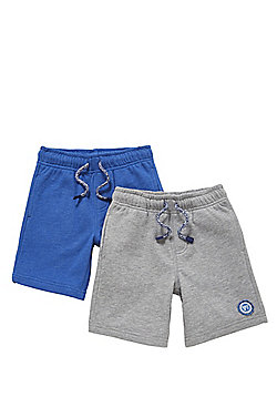 F&F 2 Pack of Sweat Shorts - Grey & Blue