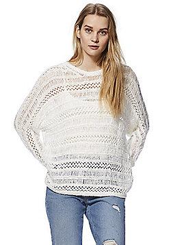 Noisy May Open Knit Jumper - White