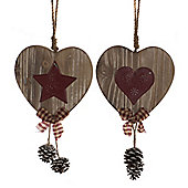 Pack of 2 Wooden Heart Hanging Christmas Decorations