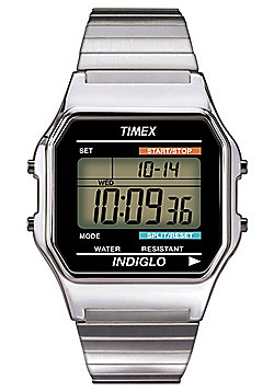 Timex Digital Mens Stainless Steel Alarm Backlight Chronograph Watch T78587