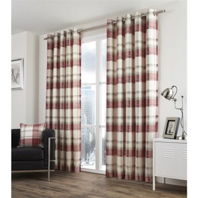 Fusion Balmoral Check Ruby Lined Curtains - 90x90 Inches (229x229cm)