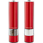 Andrew James Electronic Salt & Pepper Mill Set - One Touch Illuminated Grinding - Red